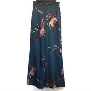 Zara Woman Wide Leg Floral Pants Size Small